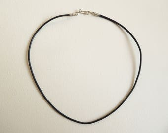 Black leather cord necklace with handmade hook clasp, choice of sterling silver/copper/bronze