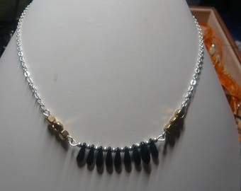 Necklace * Symphony * crew neck, black, gold & silver