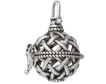 1 Angel Caller Bola Harmony Ball Wish Box Pendants Round Antique Silver Fits 14mm Bead (B469e)