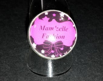 Adjustable ring cabochon glass Mam' Missy fashion pink and black