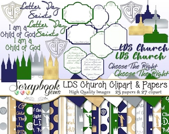 LDS CHURCH Clipart and Papers Kit, 27 png Clip arts, 25 jpeg Papers Instant Download ctr choose the right church of jesus christ of latter
