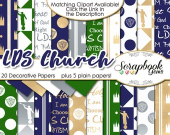 """LDS CHURCH Digital Papers, 24 Pieces, 12"""" x 12"""", High Quality JPEGs, Instant Download salt lake temple choose the right captain moroni"""