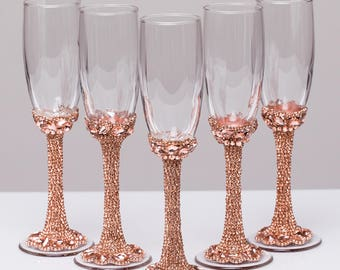 Personalized glasses rose gold Champagne flutes wedding toasting glasses Flutes rose gold wedding toasting flutes Bridesmaid