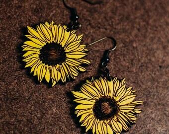 Sunflower Dangle Earrings | Handmade Sun Flower Drop Earrings