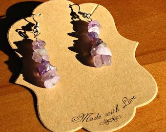 Amethyst Chip Dangle Earrings