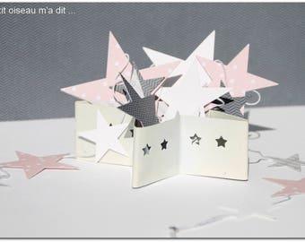 Pink paper Garland of stars / grey Interior