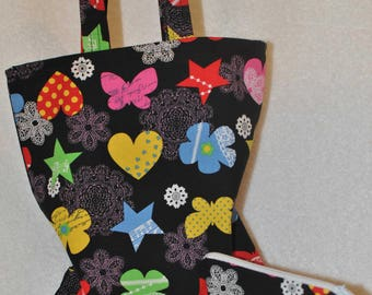 Childrens fabric tote bag and coin purse.