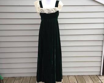Vintage Green Velvet Maxi Dress