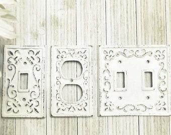 Light Switch Plate - Light Switch Cover - Switch Plate Cover - Cast Iron Switchplate - Nursery Wall Decor - Nursery Decor - Fleur de lis