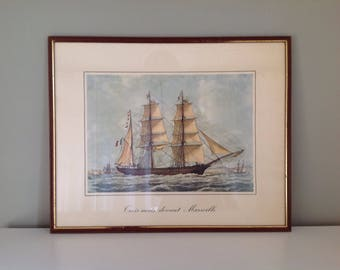 """""""Three-masted front Marseille"""" after François Roux - ship - ship painting - gift idea illustration poster"""