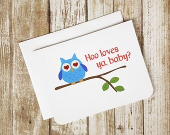 Valentine Card,  Funny Valentine, Love Card, Funny Card, Greeting Card, Love Pun, Romance, Owl Card, Bird Card,