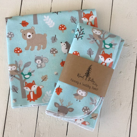 Baby Receiving Blankets | Forest Critters Swaddling Blanket, Stroller Blanket, Flannel