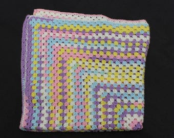 Granny Square Baby Afghan, Baby Shower Gift, Summer Afghan, Multicolor Afghan