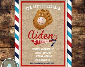 Our Little Slugger Invitation, Baseball Birthday, Baseball Invitation