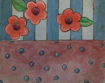 Country Pattern Original Folk Art Canvas Painting