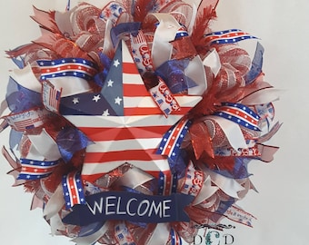 Fourth of July Decoration, Independence Day Wreath, July 4th Decorative Wreath, Handmade Wreath, Craft Wreath, Decorative Wreath, Patriotic