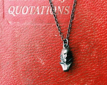 Antique Shakespeare Bust Pendant Black Sterling Silver Necklace