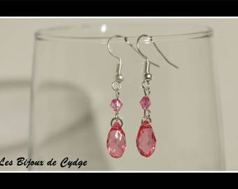 Earrings and its drop dark pink with router