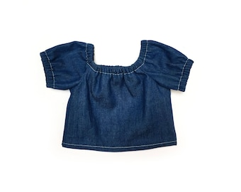 Baby Peasant Top, Denim, Blue, White, Bitty Baby, Bitty Twin, 15 inch Doll Clothes