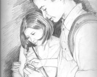 personalized custom portrait in pencil,pencil portrait,adult portrait in pencil,pencil drawing,drawing,custom drawing,Couple