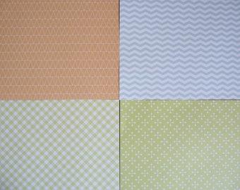 set of 4 sheets of 20 x 20 cm: geometric