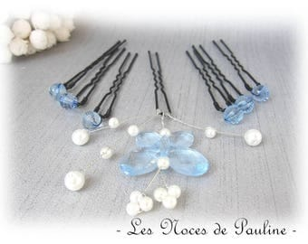 The blue and White Butterfly, hair pins set