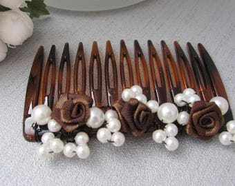 Hair comb wedding brown white pearls and roses