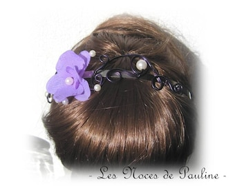 Purple and white 'Les Volutes' bridal headband
