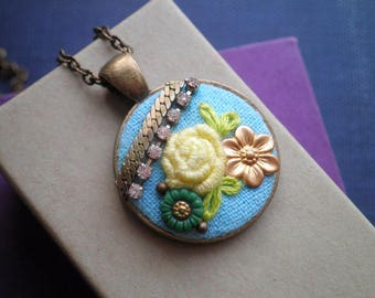 Embroidered Flower Necklace - Lemon Yellow Rose Embroidery Pendant - Mixed Metal Floral Collage Assemblage Necklace - Fiber Art Jewelry Gift