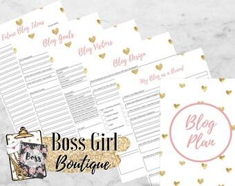 Blog Plan - Printable planner inserts - pink and gold planner inserts for bloggers/entrepreneurs - girl boss blog planner