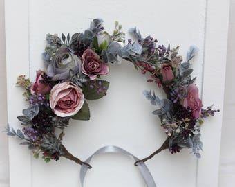 Grey purple dusty rose flower crown Floral headband Bridal hair wreath Outdoor wedding Bridesmaid crown Maternity photo props Flower halo