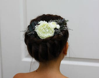Large comb Ivory grey eucalyptus flower comb Floral accessories Wedding comb Bridal headpiece Bridesmaid Outdoor Hair flowers Flower girl