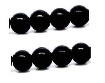 set of 20 beautiful black glass beads shiny 8 mm