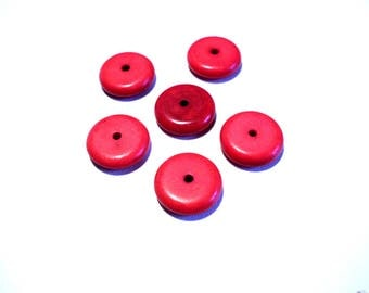 Set of 6 red natural stone beads, flat, 12 mm x 2 mm