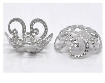 Set of 250 shape 10 mm silver color filigree flower bead caps