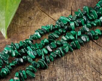 """34"""" MALACHITE Chip Necklace - Malachite Bead Necklace, Malachite Jewelry, Malachite Necklace, Malachite Stone, Healing Crystal Jewelry E0804"""