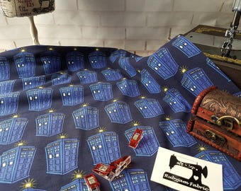 Dr Who - Tardis - Cotton Lycra - Stretch Knit - 4 Way Stretch - Cotton Spandex - Licensed - BBC - Doctor Who - Whovian - jersey knit