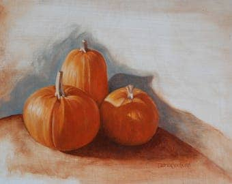Pumpkins 1, still life, oil painting