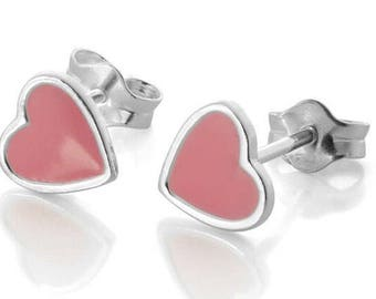 Pink Enamel Heart Earrings