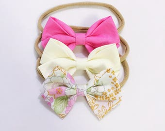 Barbie floral bow headband trio set