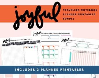 Joyful Traveler's Notebook Planner Printable Bundle