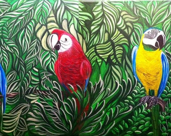 Acrylic painting on canvas - four macaws