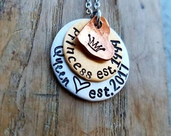 Personalized 18th birthday necklace. 21st birthday necklace. Sweet sixteen princess necklace. Hand stamped graduation gift. Layered necklace
