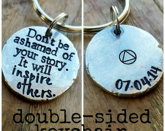 Personalized sobriety keychain. Recovery anniversary gift. AA alcoholics anonymous birthday gift. Sober anniversary. New beginnings gift.