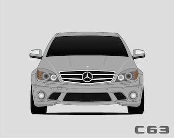 Mercedes-Benz C-Class C63 AMG Poster // Mercedes Print // C 63 // W204