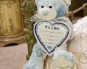 """14"""" Musical Plush Birth Announcement Boy Bear"""