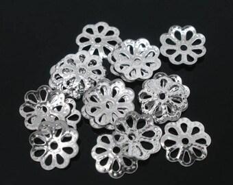 500 bead caps 7 mm color silver openwork flowers