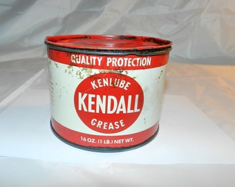 Kendall Grease Can - Vintage Tin Litho Kenlube 16 Oz. Advertising Grease Container - Empty 1 pond can - Kendall Refining Company        33-8