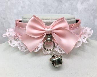 Pastel Pink Kittenplay Collar, Lolita Cosplay Petplay BDSM Collar, Kitten Day Collar- Submissive Collar, Cute Choker- DDLG Little Girl