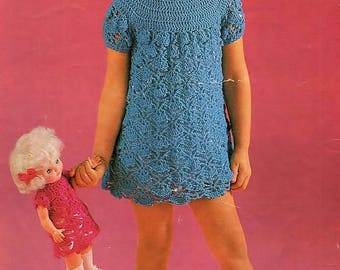 Girls Dress And Dolls Dress, Crochet Pattern. PDF Instant Download.